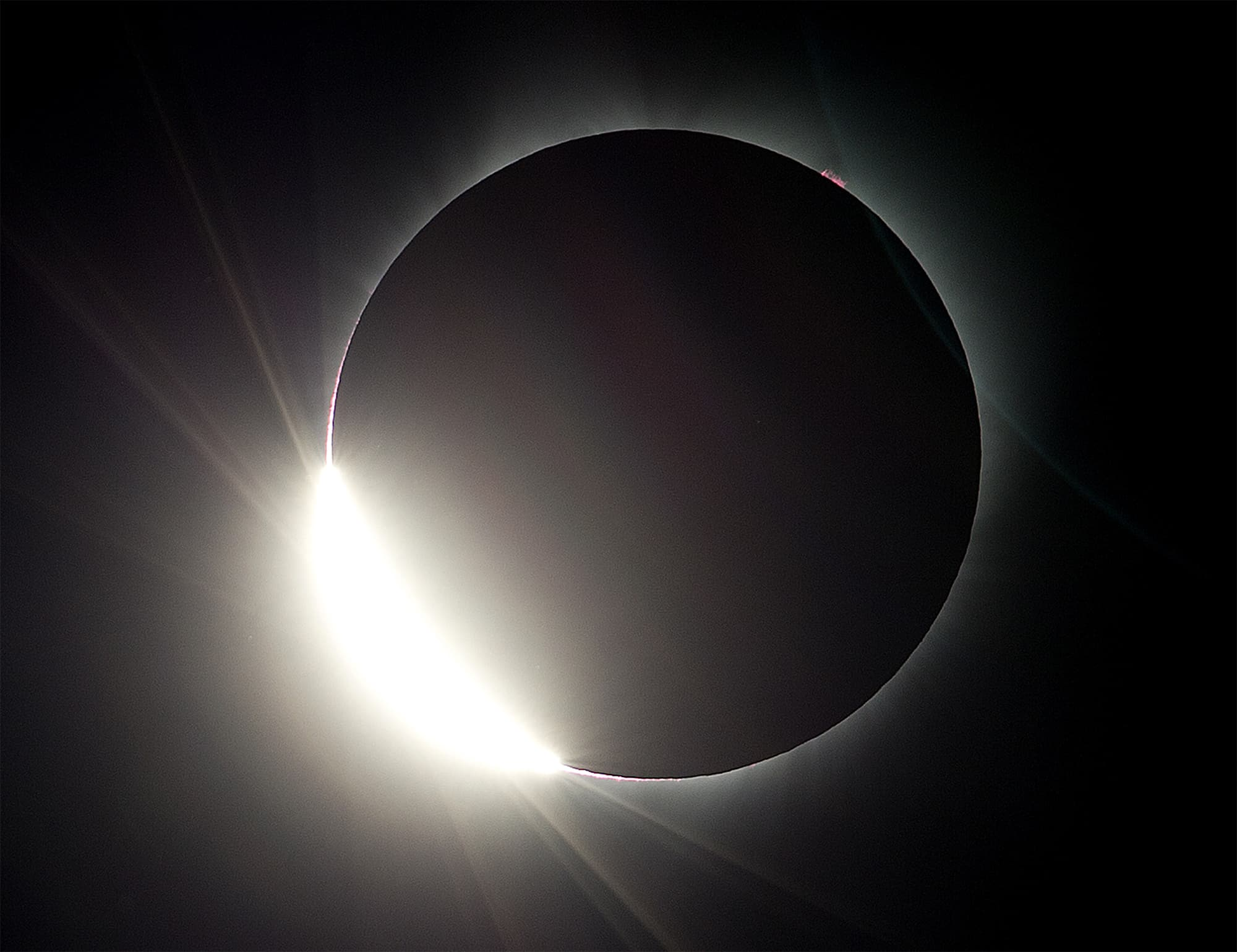 The moon almost eclipses the sun during a near total solar eclipse as seen from Salem, Oregon. ─ AP