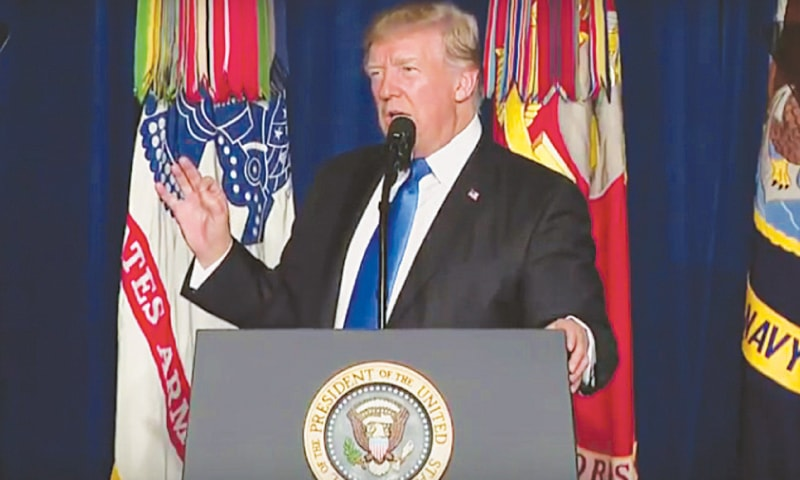 US President Donald Trump announcing his new strategy for Afghanistan.