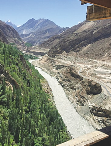 A VIEW of the calm Hunza River flowing along the Karakoram Highway from top of the Altit Fort in Karimabad.—Photo by writer