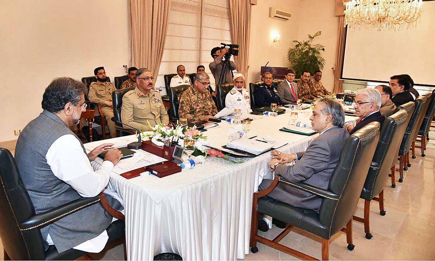 PRIME Minister Shahid Khaqan Abbasi chairs a meeting of the National Security Committee on Thursday.—APP