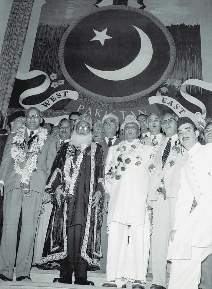 Pakistan became a Republic on March 23, 1956 under Prime Minister Chaudhri Mohammad Ali (extreme left). Seen from right to left are Yusuf Haroon (secretary, Muslim League), I.I. Chundrigar (the law minister and future prime minister), Sher-e-Bengal A.K. Fazlul Huq (former interior minister and United Front leader who was instrumental in helping Prime Minister Chaudhri Mohammad Ali in steering the bill through the assembly) and the Speaker Abdul Wahab Khan. — The Press Information Department, Ministry of Information, Broadcasting & National Heritage, Islamabad
