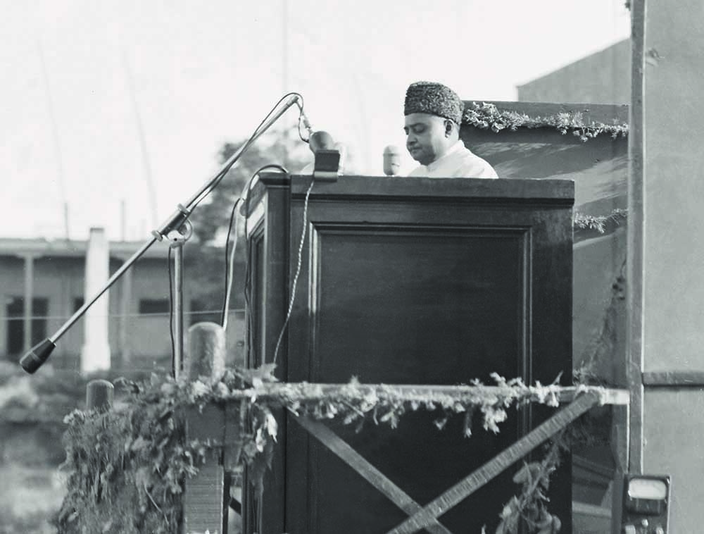 Khawaja Nazimuddin, the second Governor General of Pakistan, addressing a public meeting in the late 1940s. — The Press Information Department, Ministry of Information, Broadcasting & National Heritage, Islamabad