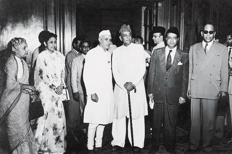 Jawaharlal Nehru, Prime Minister of India, arrived at the Governor General House in Karachi on July 27, 1953. He is seen here alongside Governor General Malik Ghulam Muhammad, Prime Minister Mohammad Ali Bogra and Dr Mohan Sinha Mehta, the Indian High Commissioner to Pakistan. Standing at the extreme left is Vijaya Lakshmi Pandit, Prime Minister Nehru's sister and a one-time friend of Mr Jinnah. — The Malik Ghulam Muhammad Archives