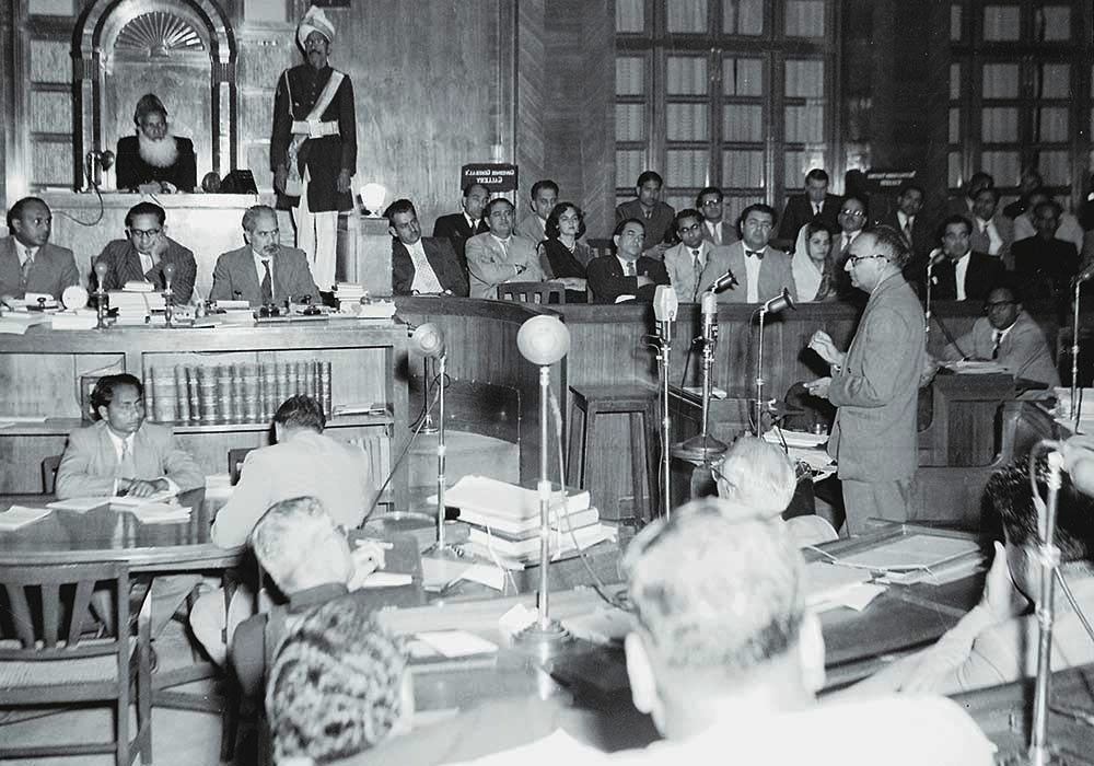 Prime Minister Chaudhry Muhammad Ali presenting the Constitution Bill in the central legislature. The Bill was passed on February 29, 1956, and marked Pakistan's transition from a British Dominion to a Republic. —  The Press Information Department, Ministry of Information, Broadcasting & National Heritage, Islamabad