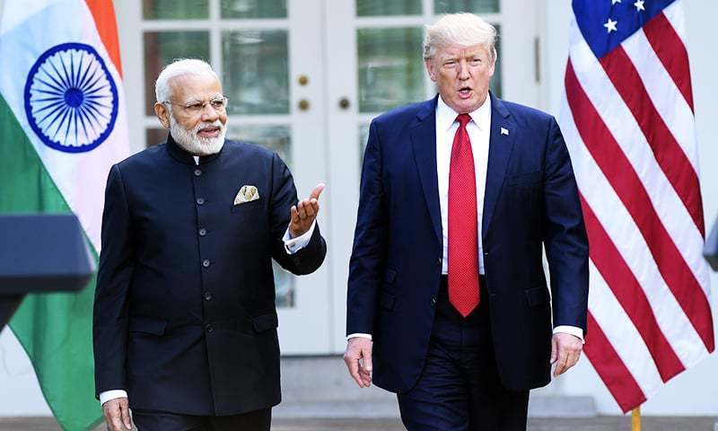 President Donald Trump and Indian Prime Minister Narendra Modi, step into the Rose Garden to make joint statements at the White House earlier this year.─AP/File