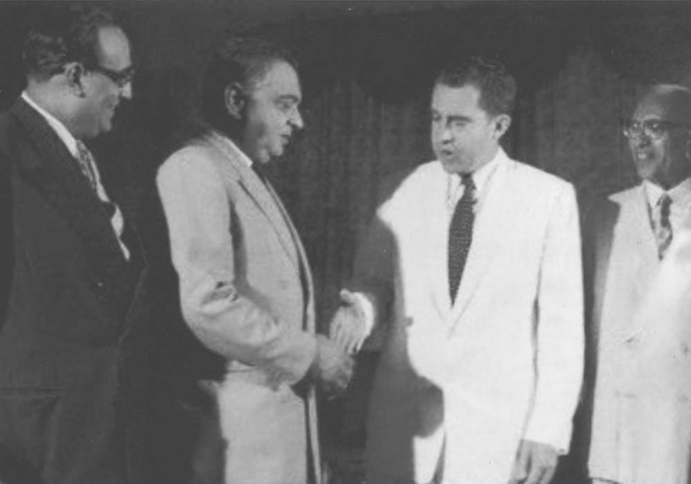 Iskander Mirza with Richard Nixon. — From the archives of Iskander Mirza in the possession of Begum Syeda Fakhr-e-Jehan Asad Ali, Karachi