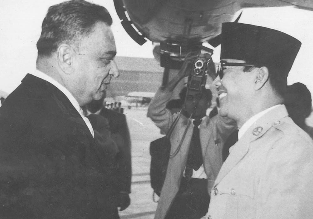 Iskander Mirza with Soekarno. — From the archives of Iskander Mirza in the possession of Begum Syeda Fakhr-e-Jehan Asad Ali, Karachi