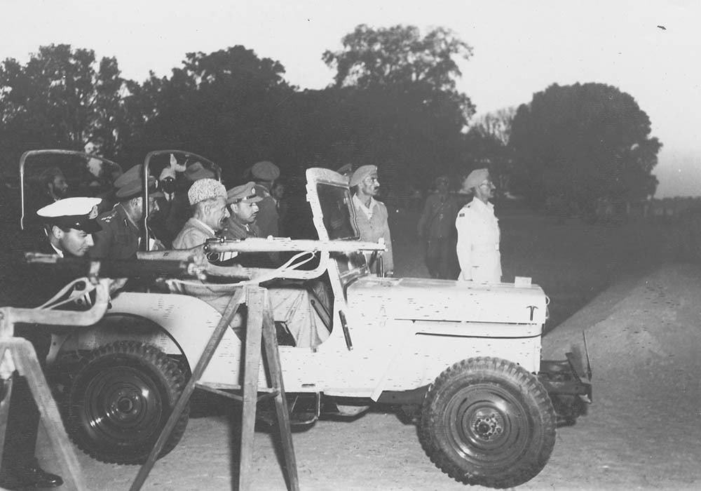 Sir Ghulam Mohammad inspecting the 'Qaumi Razakar' training camp at Kotla.— Courtesy The Malik Ghulam Mohammad Archives in the possession of Naeem Malik, Karachi.