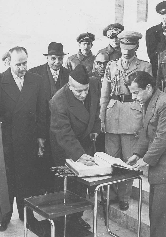 Sir Ghulam Mohammad signing the register at the Ataturk Mausoleum and laying a wreath.— Courtesy The Malik Ghulam Mohammad Archives in the possession of Naeem Malik, Karachi.