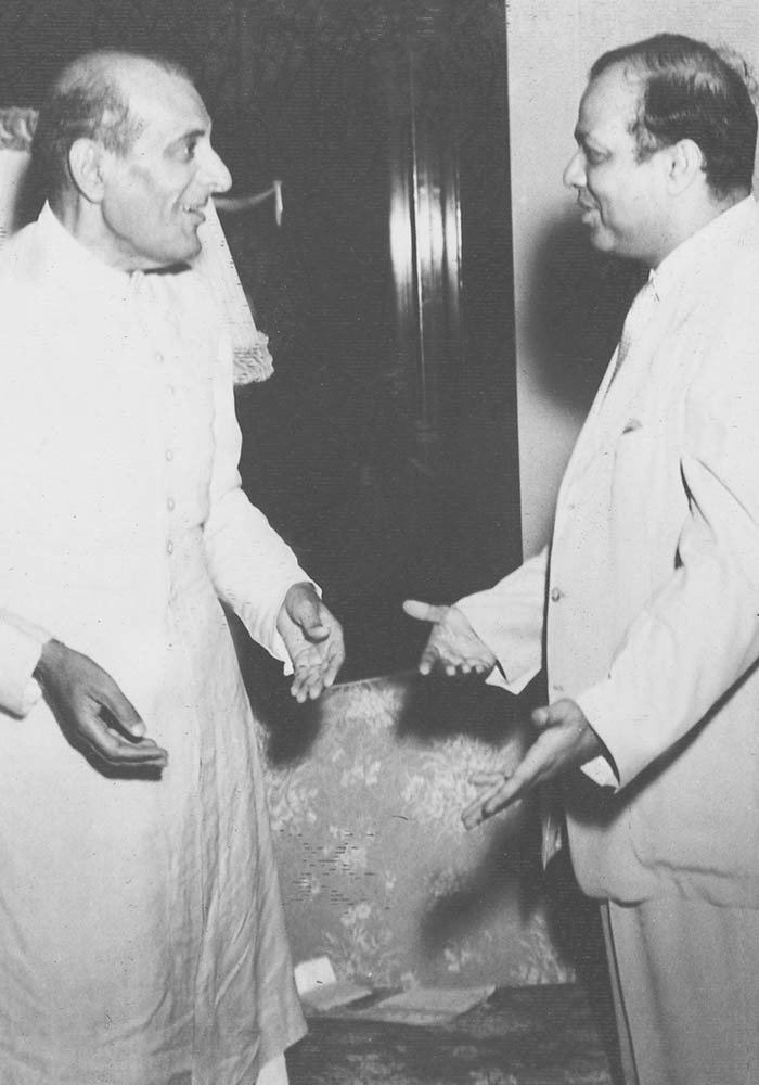 Sir Ghulam Mohammad talking to the honourable Prime Minister Mohammad Ali Bogra just after return from Quetta on 26 June, 1953. — Courtesy The Malik Ghulam Mohammad Archives in the possession of Naeem Malik, Karachi.