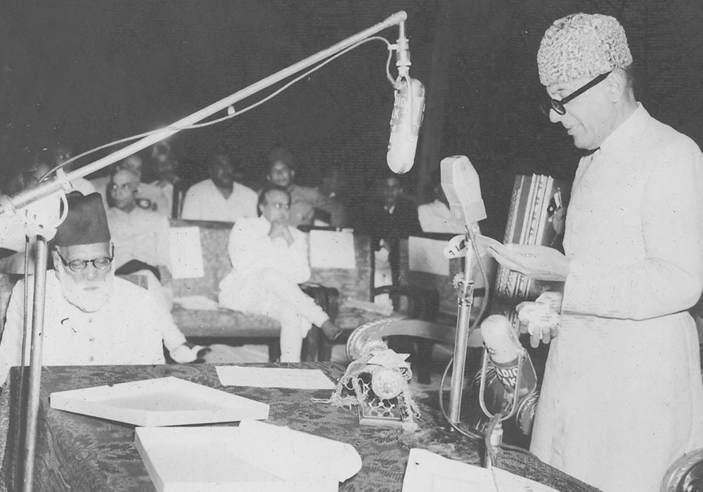 Sir Ghulam Mohammad inaugurated the Golden Jubilee session of the 'Anjuman-e-Taraqqi-Urdu Pakistan' at Karachi on October 16, 1953.— Courtesy The Malik Ghulam Mohammad Archives in the possession of Naeem Malik, Karachi.