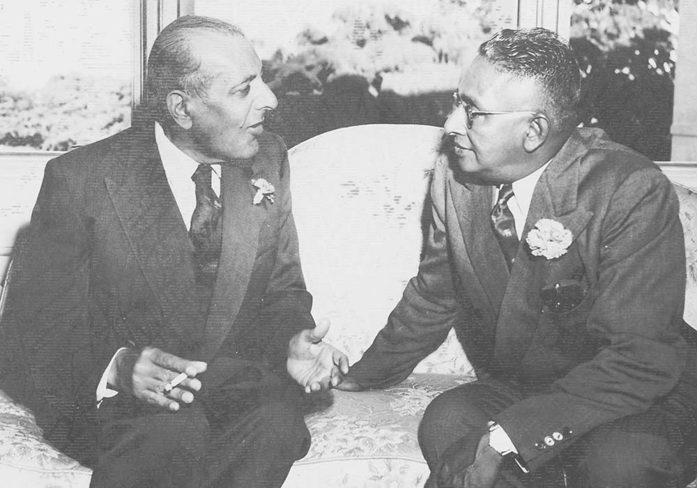 Sir Ghulam Mohammad conversing with Mr. Kolilwala, the Prime Minister of Ceylon (now Srilanka). — Courtesy The Malik Ghulam Mohammad Archives in the possession of Naeem Malik, Karachi.