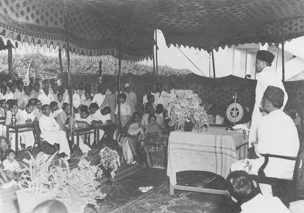 Sir Ghulam Mohammad making his speech before laying the foundation on the secondary school of Jamia Taleem-e-Milli at Malir on August 31, 1953.— Courtesy The Malik Ghulam Mohammad Archives in the possession of Naeem Malik, Karachi.