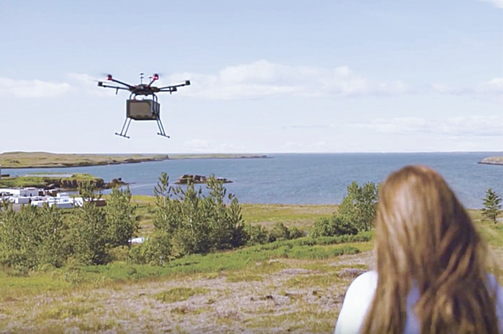 Food now delivered by a drone in Iceland