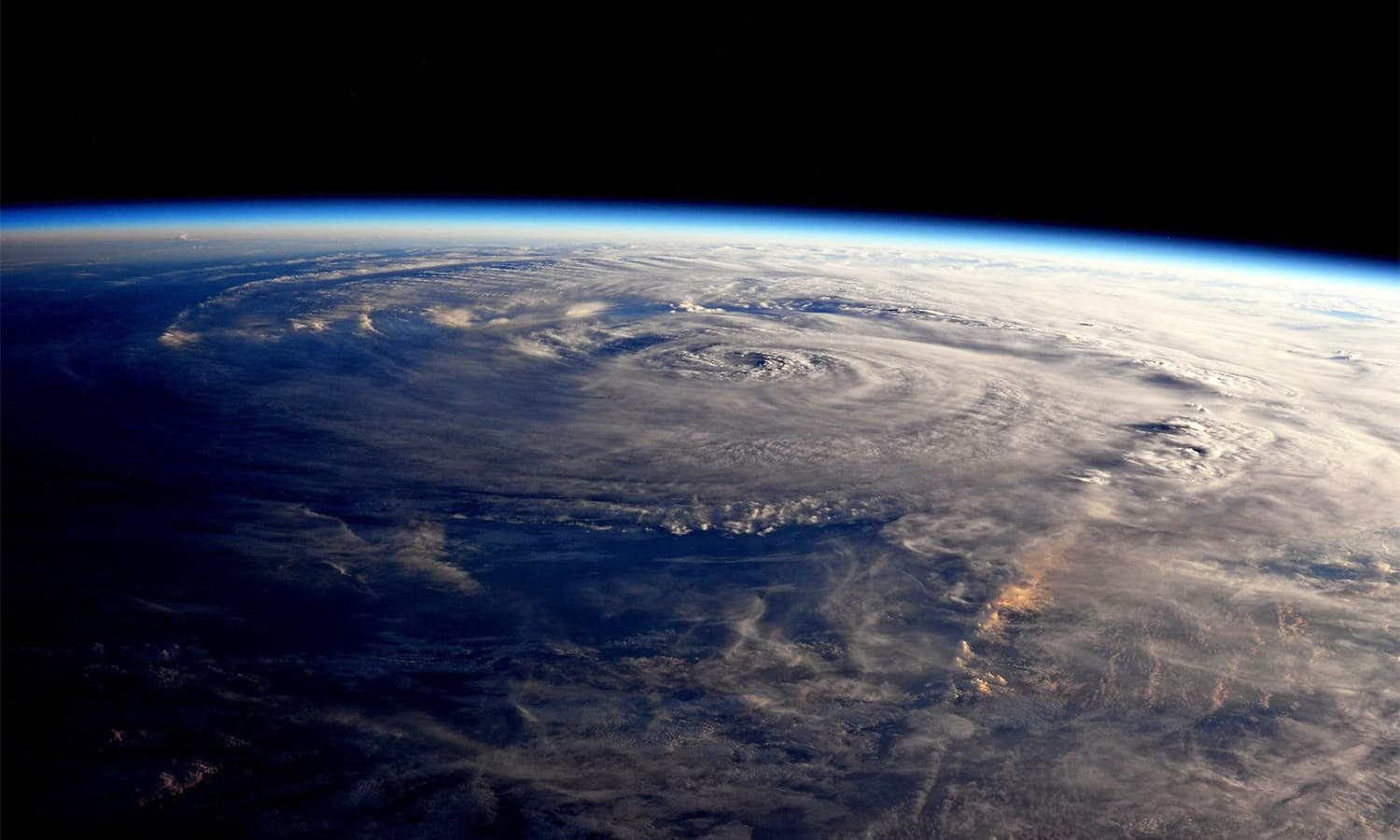 This photo made available by NASA shows Hurricane Harvey over Texas on Saturday seen from the International Space Station. — AP