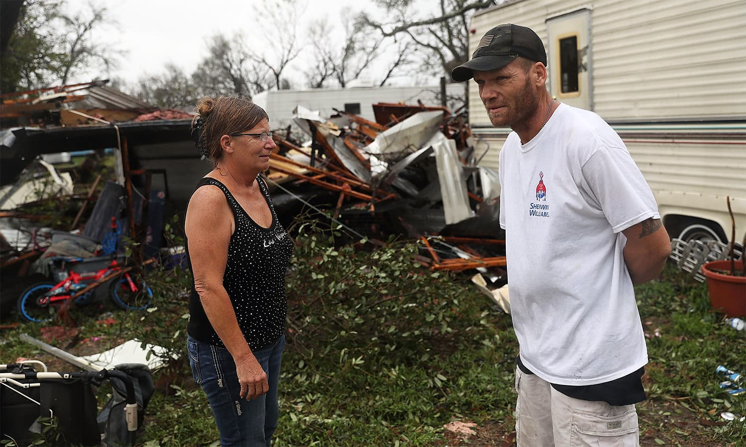 A resident stands near what is left of the trailer where he spent most of the night when Hurricane Harvey hit Rockport, Texas. He said he left the home a few hours after the storm hit and was thankful he did or he thought he would not be alive now. — AFP