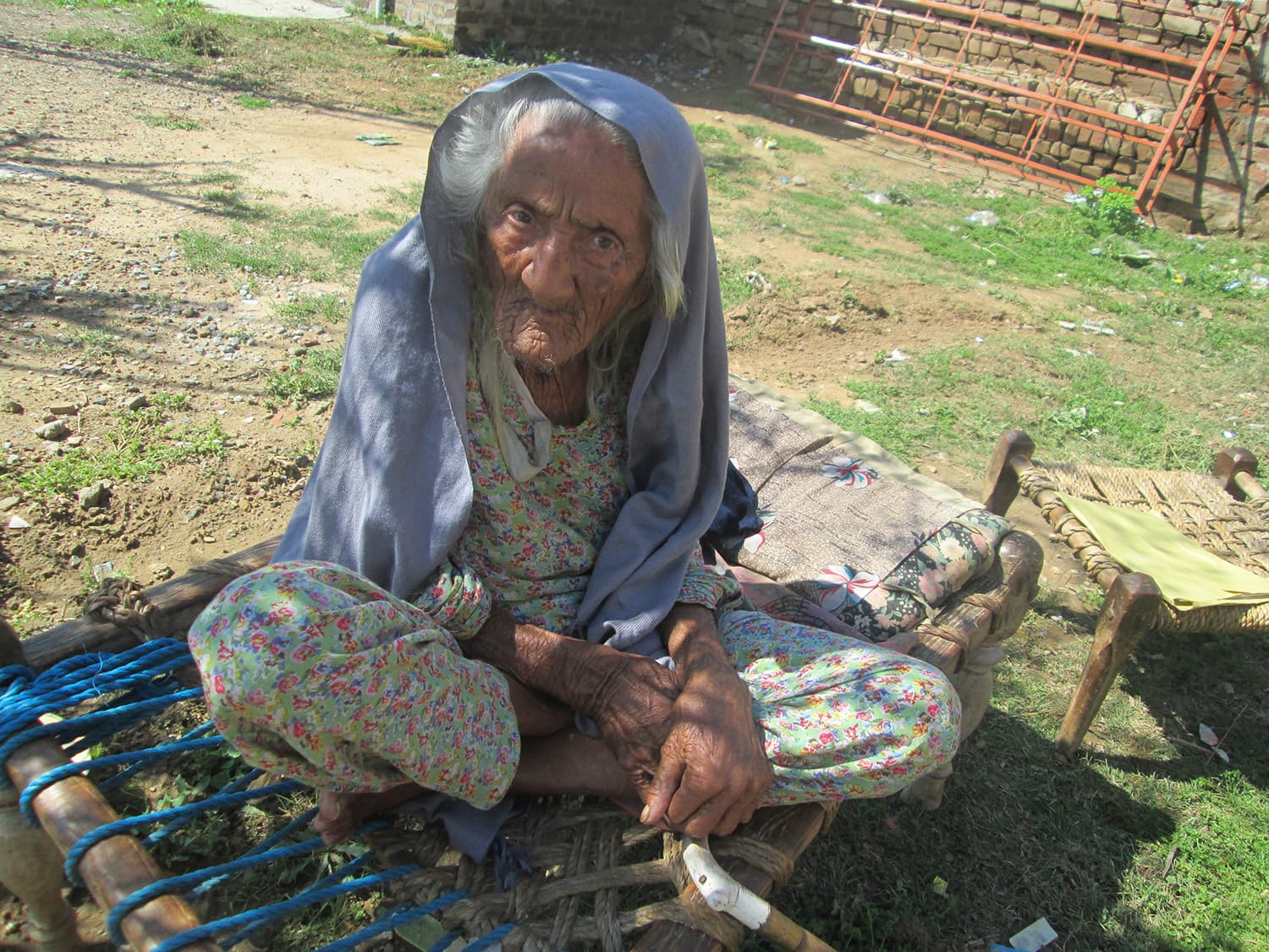 Resham Bee, a 107 year old resident of Vahali village witnessed the burning of Hindus and Sikhs alive by the rioters.