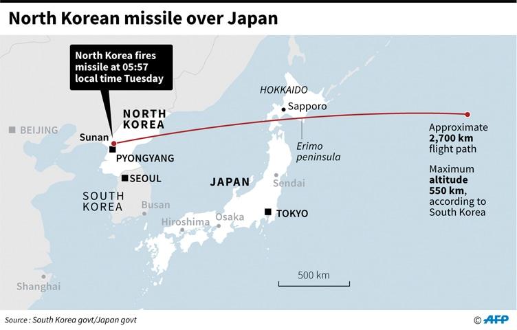 N. Korea fires missile over Japan in aggressive test