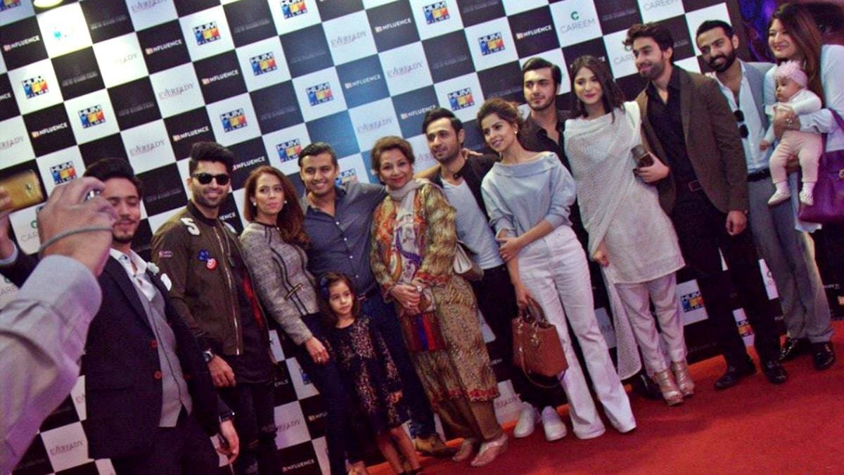 Rafay with the cast and crew of his debut film