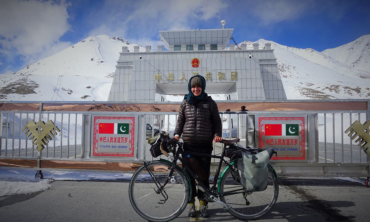 The writer poses in front of Khunjerab Pass | Photos by Rocio Otero