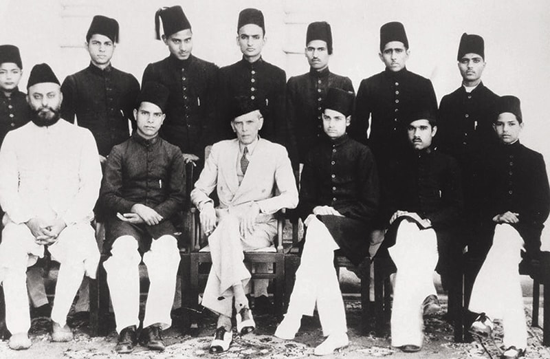 Quaid-i-Azam Mohammad Ali Jinnah with the students of Aligarh Muslim University on March 12, 1941. Mr Jinnah mobilised the students to campaign for the Muslim League in elections that were due shortly. The University served a major role during the Pakistan Movement and Dawn was an effective tool to keep it galvanised. — Photo: Dawn/White Star Archives