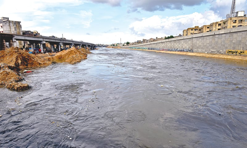 THE Lyari River in spate on Thursday.—Fahim Siddiqi / White Star