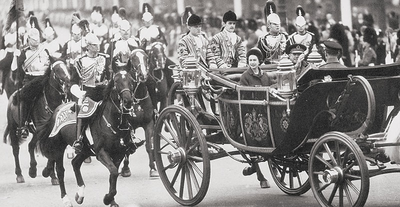 President Ayub Khan and Queen Elizabeth are seen on their way to Buckingham Palace, London, in an open stage coach in November, 1966, when the president was on a state visit to the United Kingdom. — Photo: The Tahir Ayub Collection