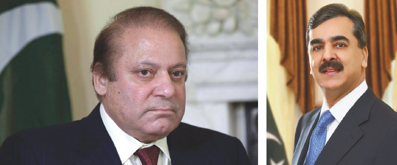 The two prime ministers to have been chucked out of office by the judiciary: Mian Nawaz Sharif and Yousuf Raza Gilani