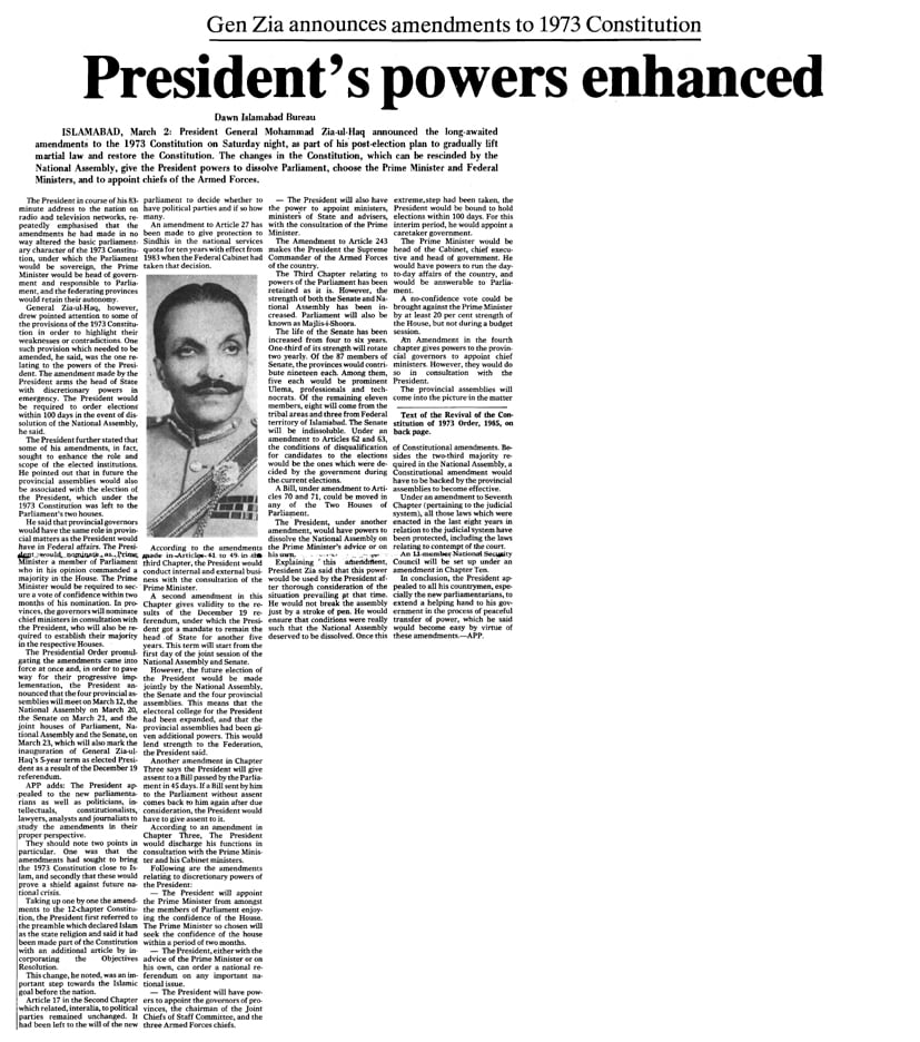 Excerpt from the Dawn front page published on March 2, 1985