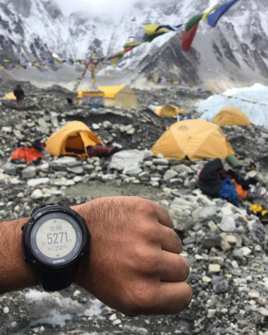 Danial showed a photograph of his watch showing that the altitude at Base Camp was a whopping 5,271m — Photogaph courtesy Danial Shah's official Facebook page