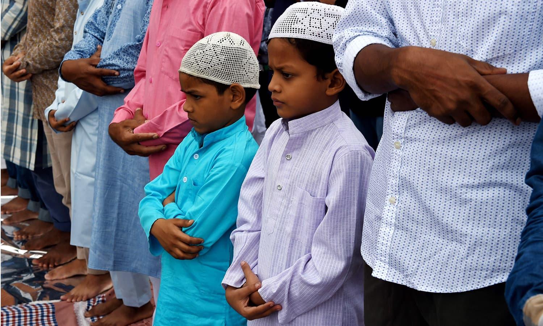 Eid prayers in Jamia Masjid in New Delhi, India.—AFP