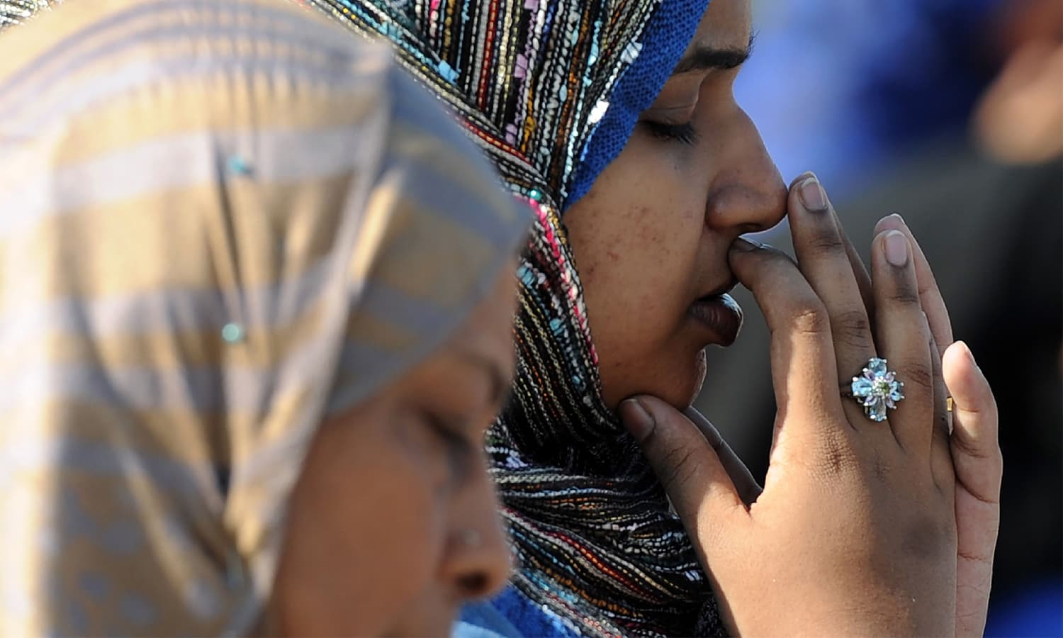 Worshippers pray during Eidul Azha celebrations at the Galle Face esplanade in Colombo, Sri Lanka.—AFP