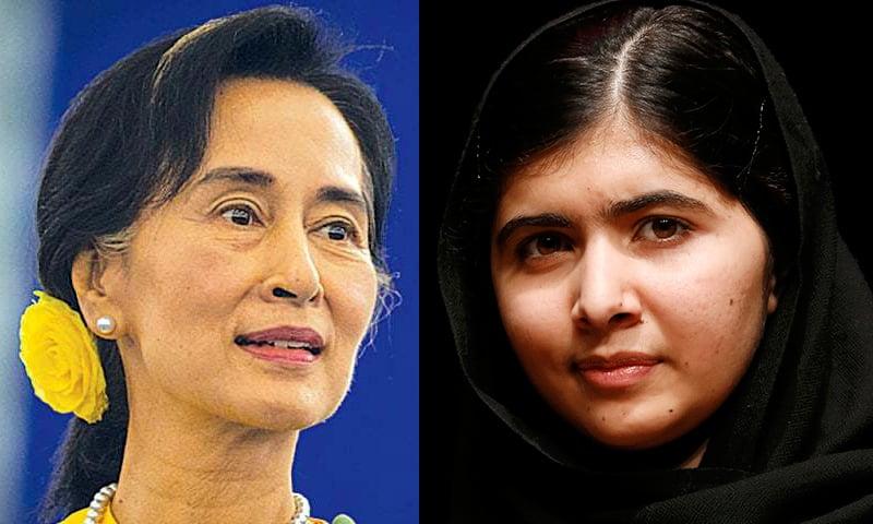 Myanmar's Nobel Peace Prize laureate Aung San Suu Kyi (L) and Pakistani Nobel Peace Prize laureate Malala Yousafzai.— Reuters/File