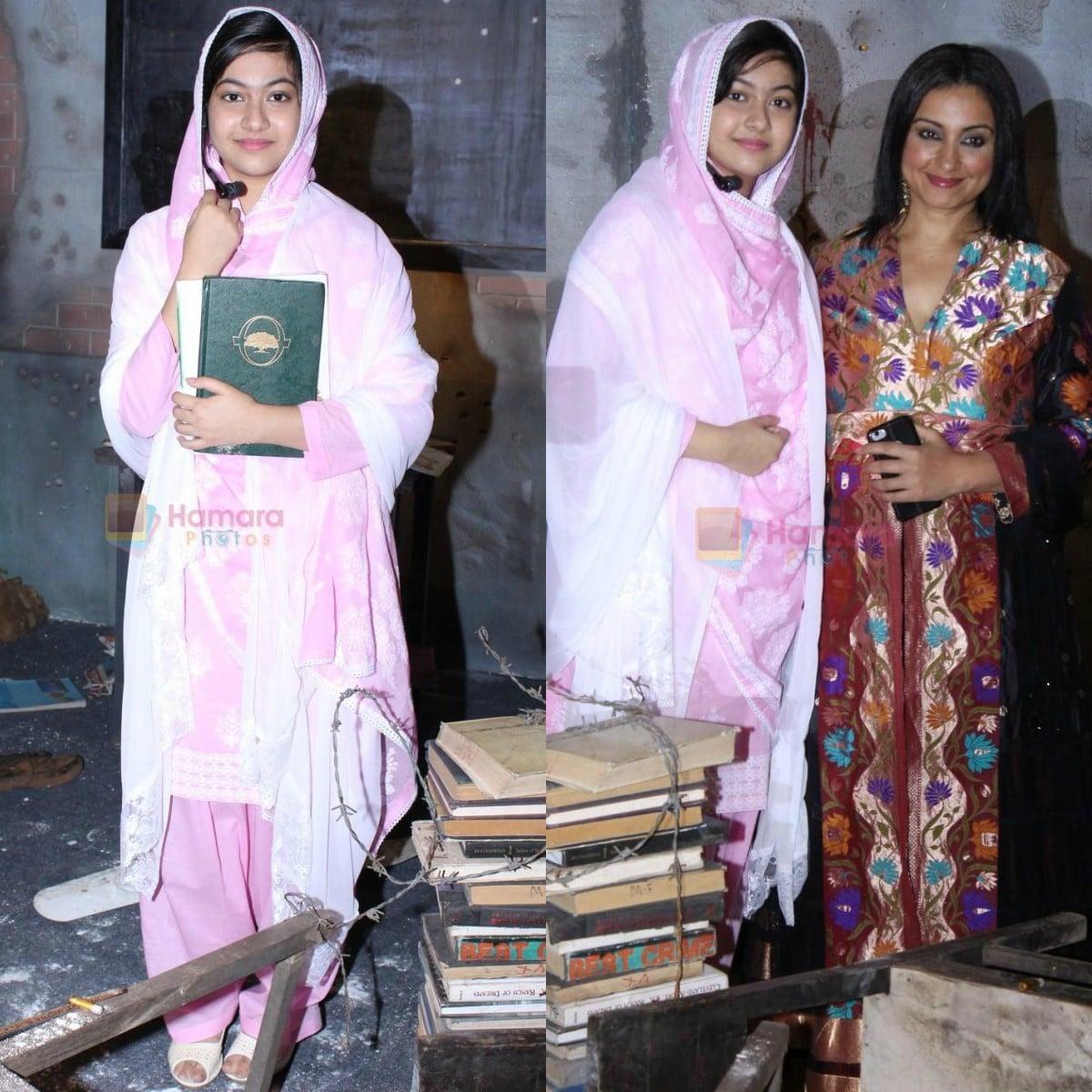 Reem Shaikh, who seen in character at the Gul Makai poster launch, with Divya Dutta — Photos courtesy Hamara Photos