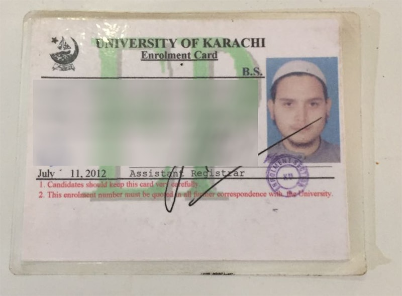 A University of Karachi ID card belonging to the suspect. ─ Photo courtesy Imtiaz Ali