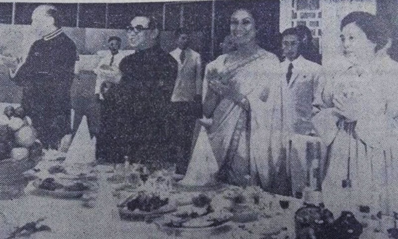 Zulfiqar Ali Bhutto, then N Korean President Kim Sung and Begum Nusrat Bhutto during a visit to North Korean in 1976. —Dawn