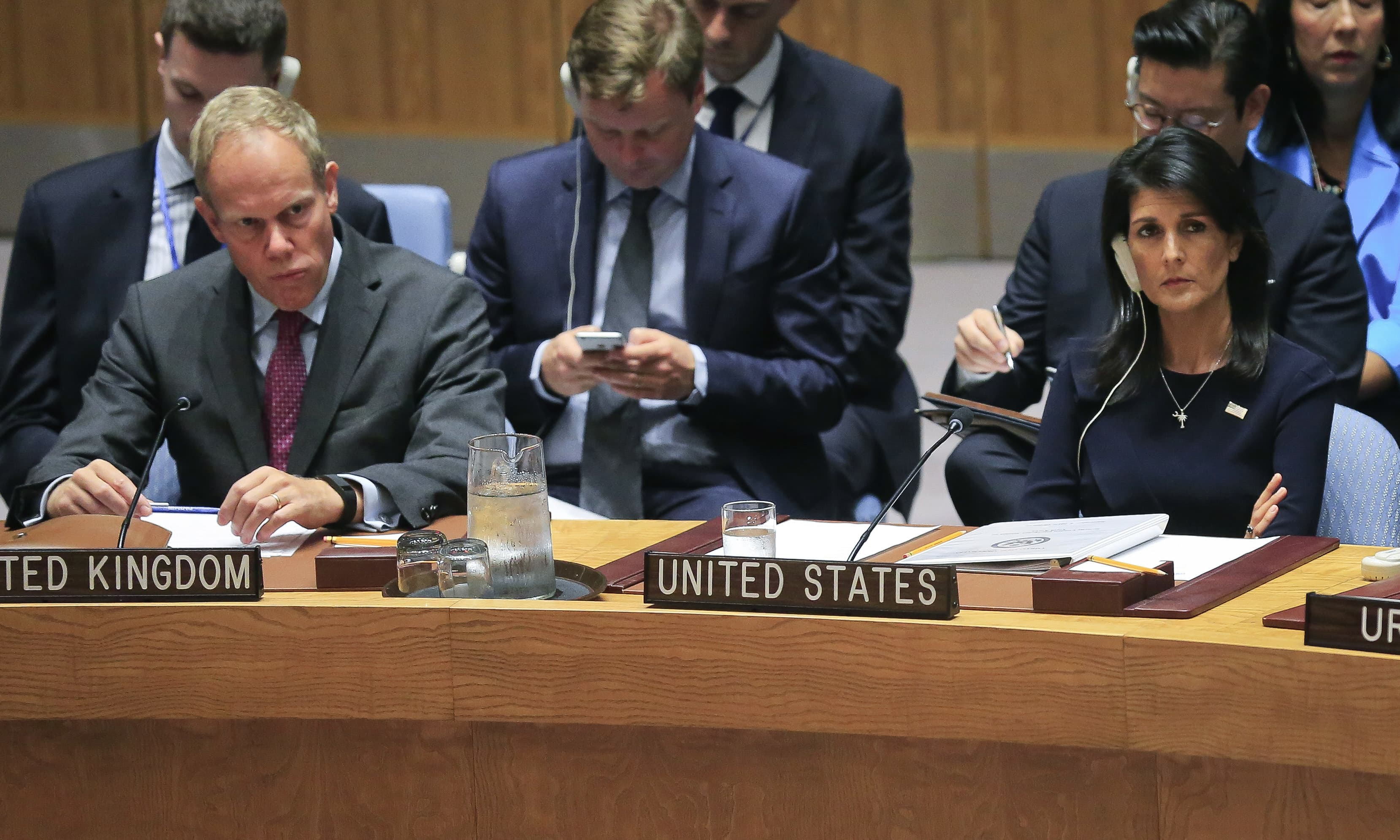 United Nations Ambassadors Matthew John Rycroft of the UK, left, and Nikki Haley of the US right, listen during the UN Security Council's non-proliferation meeting on North Korea , Monday Sept. 4, 2017 at UN headquarters. —AP