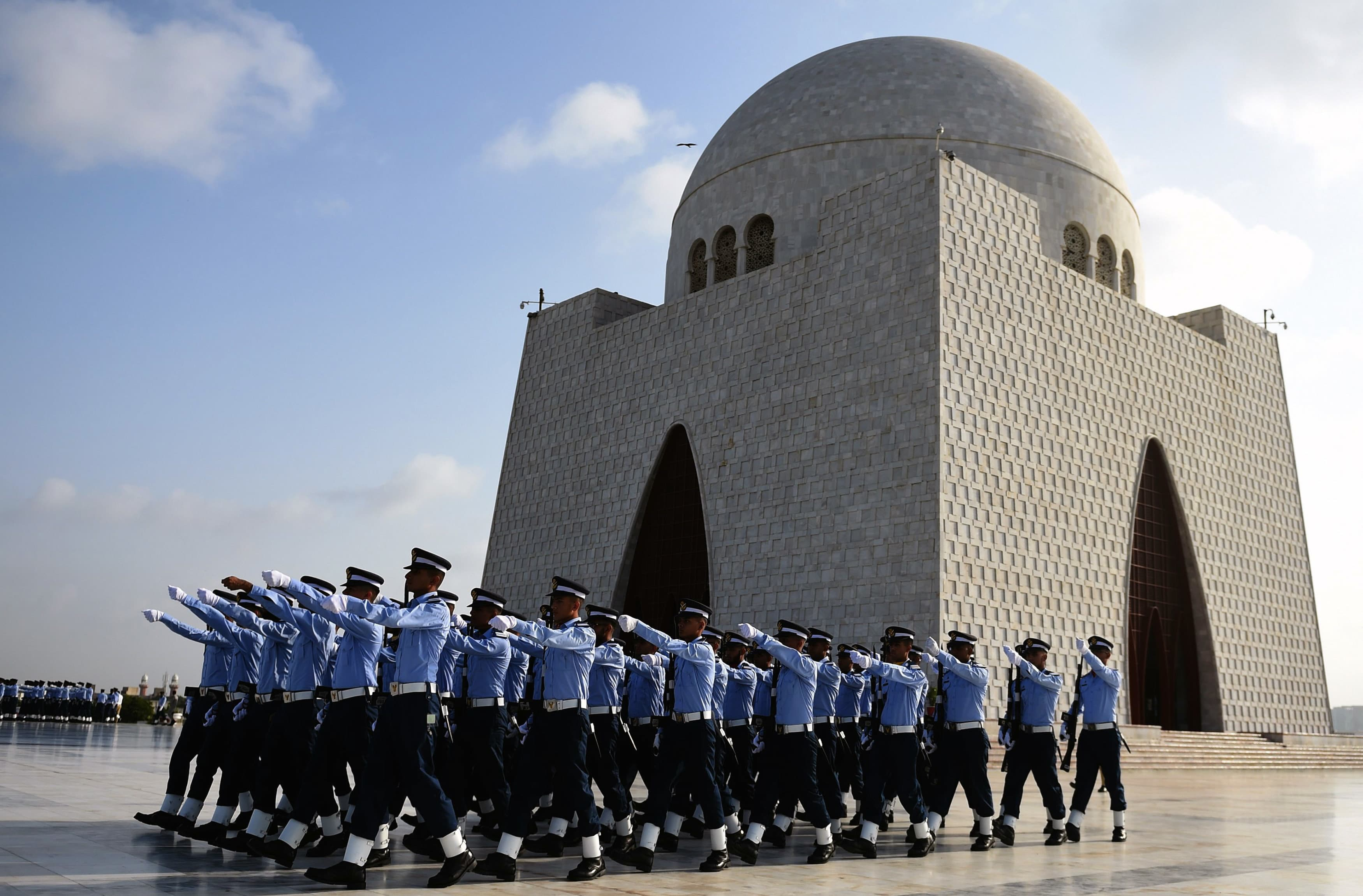 PAF cadets march next to the mausoleum of the country's founder Mohammad Ali Jinnah. —AFP