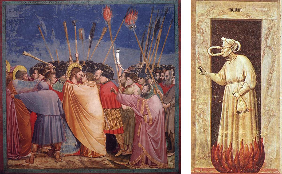 جاٹو ڈی بونڈون کے ان فریسکو میں ایک حاسد کو دوزخ کے عذاب میں مبتلا دکھایا، جبکہ دوسری جانب یہودہ، جس نے حضرت عیسیٰ علیہ السلام کو دھوکہ دیا تھا، کو زرد رنگ کے لباس میں دکھایا گیا ہے۔