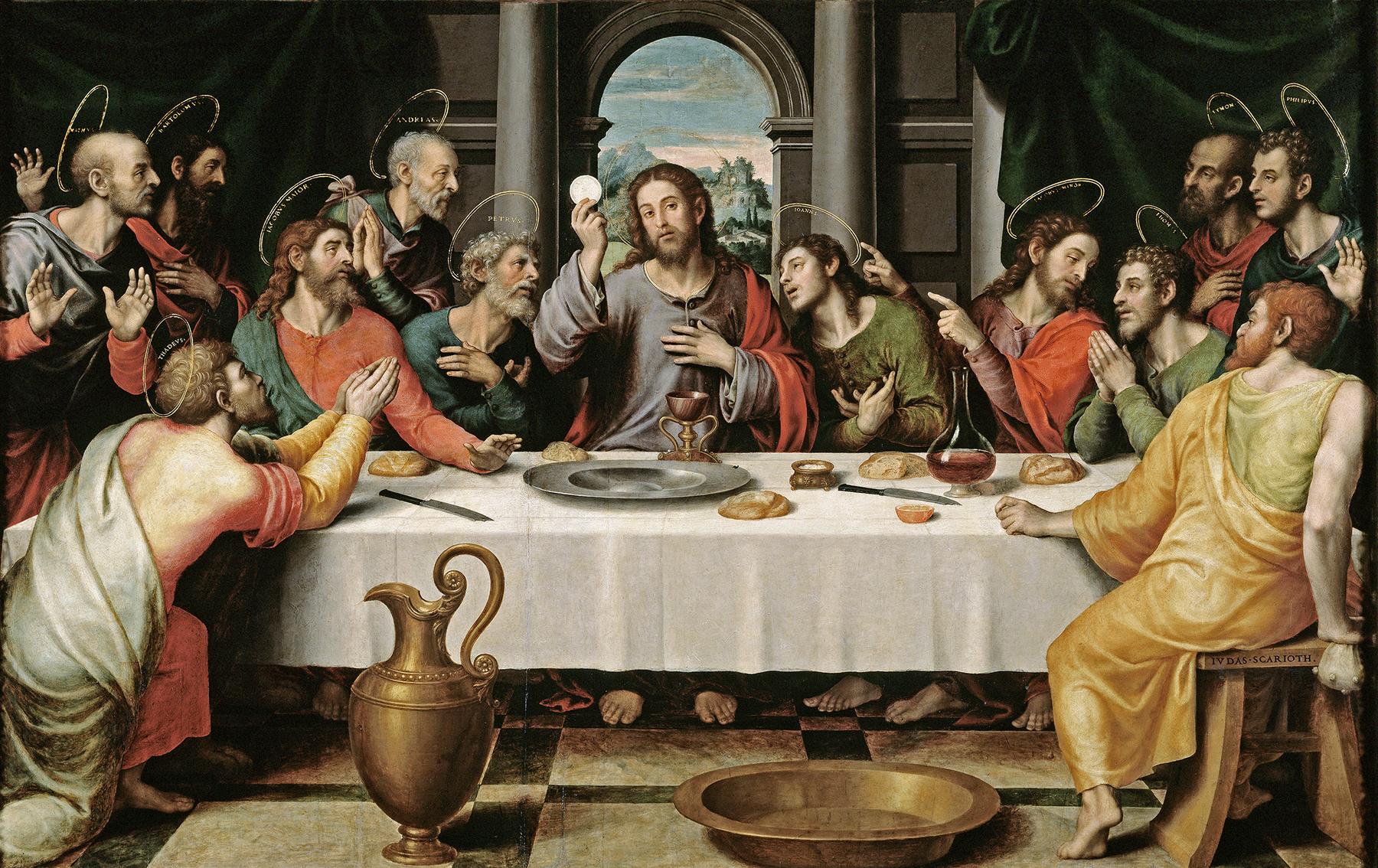"""16 ویں صدی کے ہسپانوی مصور ونسینٹ ہوان ماسِپ کی لیونارڈو ڈا ونچی کی پینٹنگ """"آخری عشائیہ"""" سے متاثر ہو کر بنائی گئی پینٹنگ۔"""