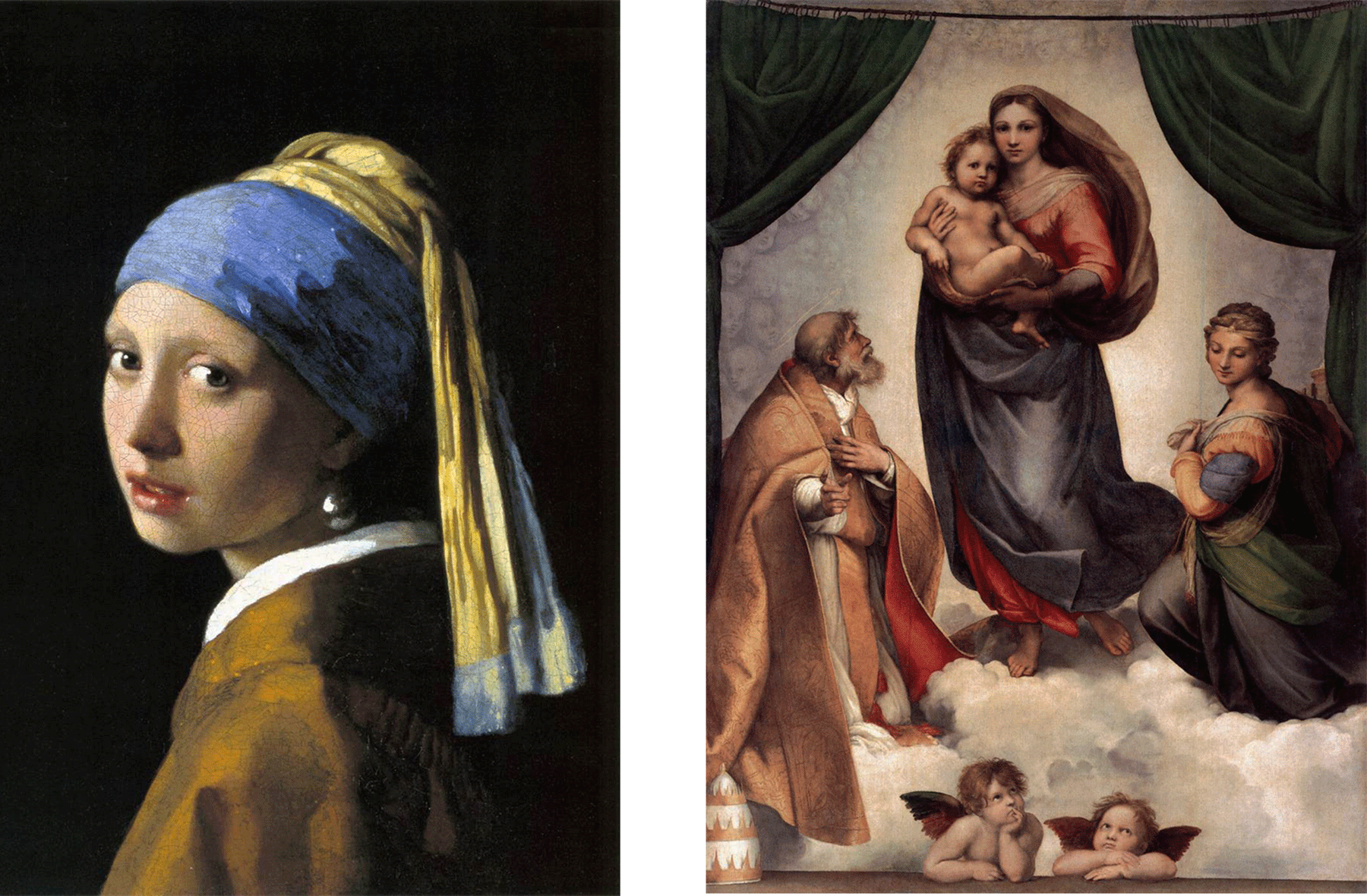 رافیل کی اس پینٹنگ (دائیں) میں بوڑھے شخص نے جو چادر اوڑھ رکھی ہے اس میں زرد اوکرے کا استعمال کیا گیا۔ ورمیر کی پینٹنگ (بائیں) میں لڑکی نے جو گاؤن پہن رکھا ہے وہ بھی زرد اوکرے سے پینٹ کیا گیا ہے.