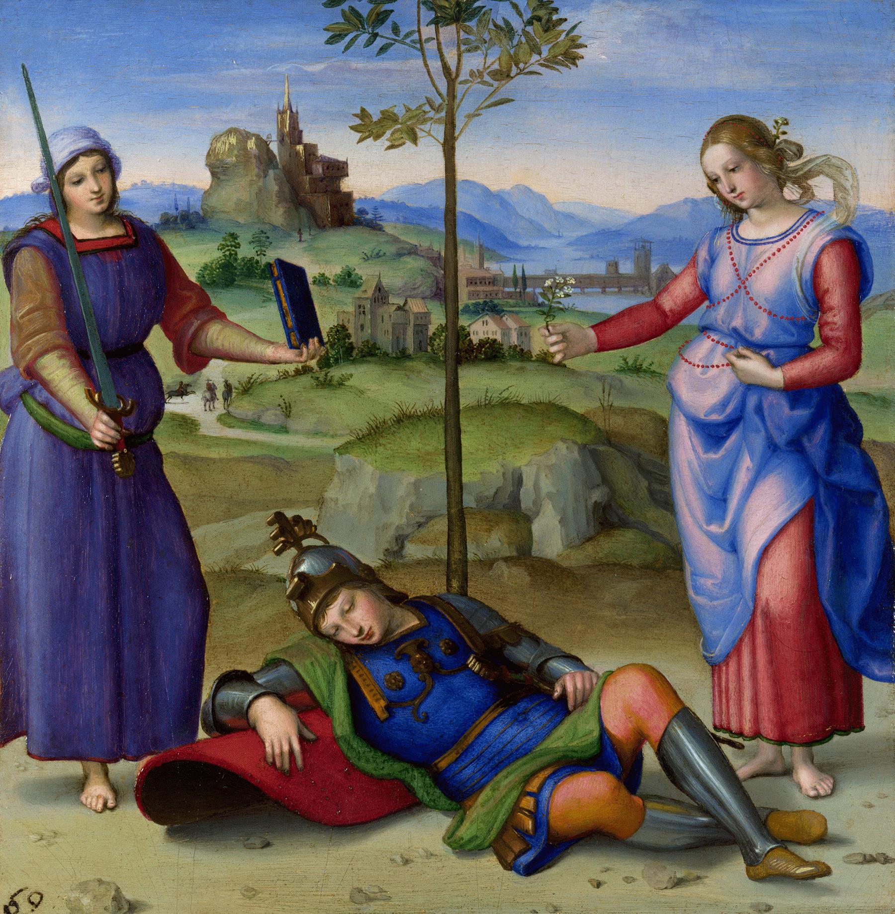 رافیل کی اس مصوری میں بائیں جانب موجود خاتون کی آستین اور زمین پر موجود شخص کے جوتوں اور ٹراؤزر میں اورپیمنٹ اور زرد اوکرے کا استعمال کیا گیا ہے۔