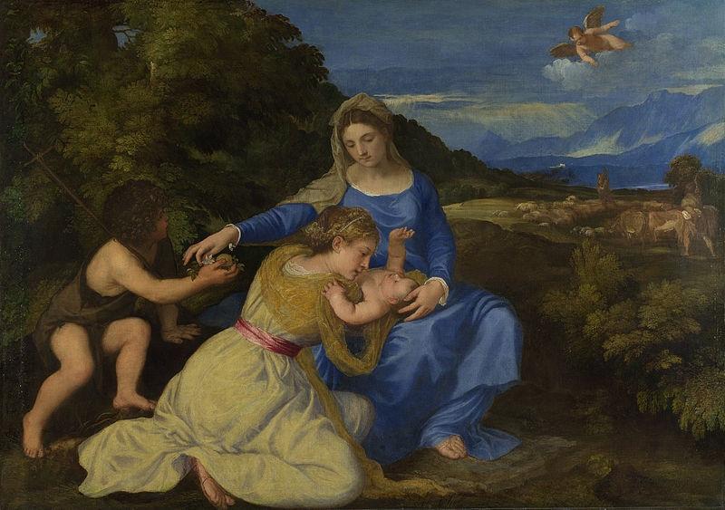 ٹیژیانو کی اس مصوری میں بی بی مریم کو جو شخص (سینٹ جون) بچہ تھما رہا ہے اس کے لباس کو لیڈ ٹن یلو میں پینٹ کیا گیا ہے۔