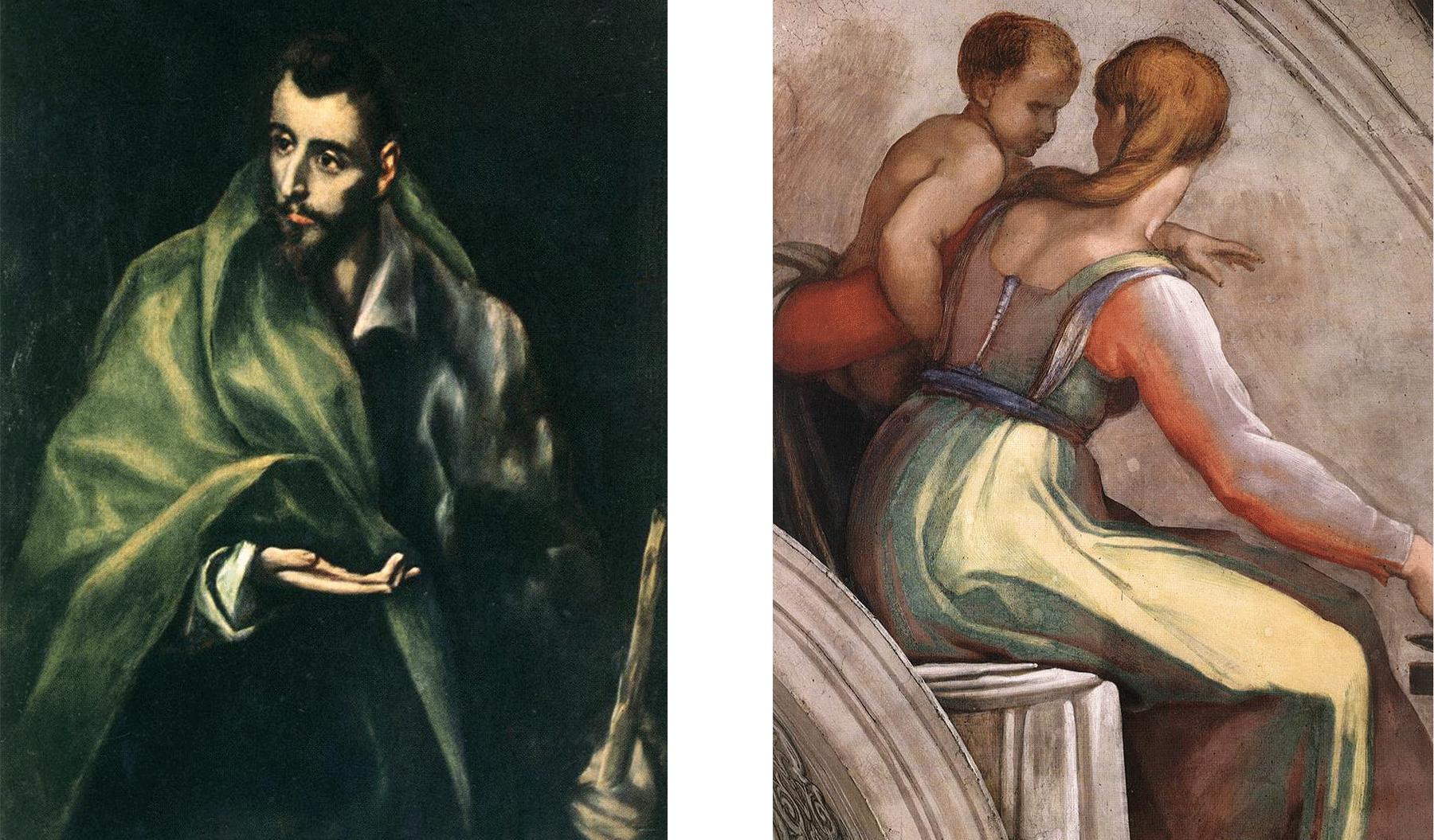 مائیکل اینجلو کی پینٹنگ (دائیں) اور گریکو کی پینٹنگ (بائیں)۔