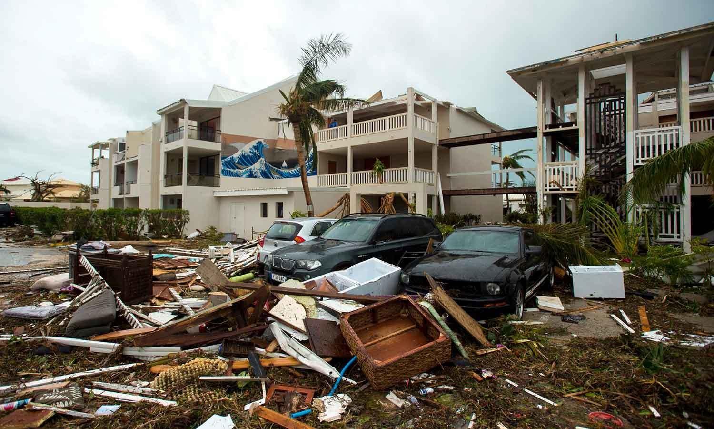 جزیرہ سینٹ مارٹن کے ہوٹل اور رزورٹ بھی تباہ ہوچکے—فوٹو: اے ایف پی