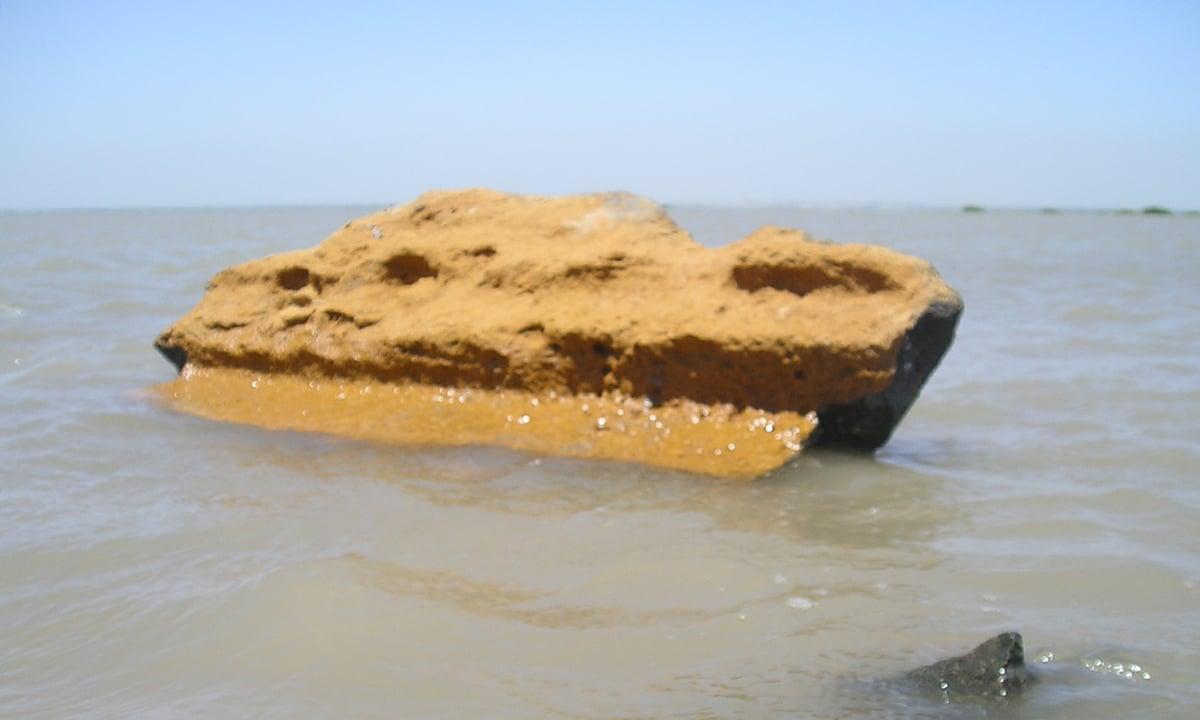 قدیم قبرستان میں بچا آخری زرد پتھر— تصویر ابوبکر شیخ