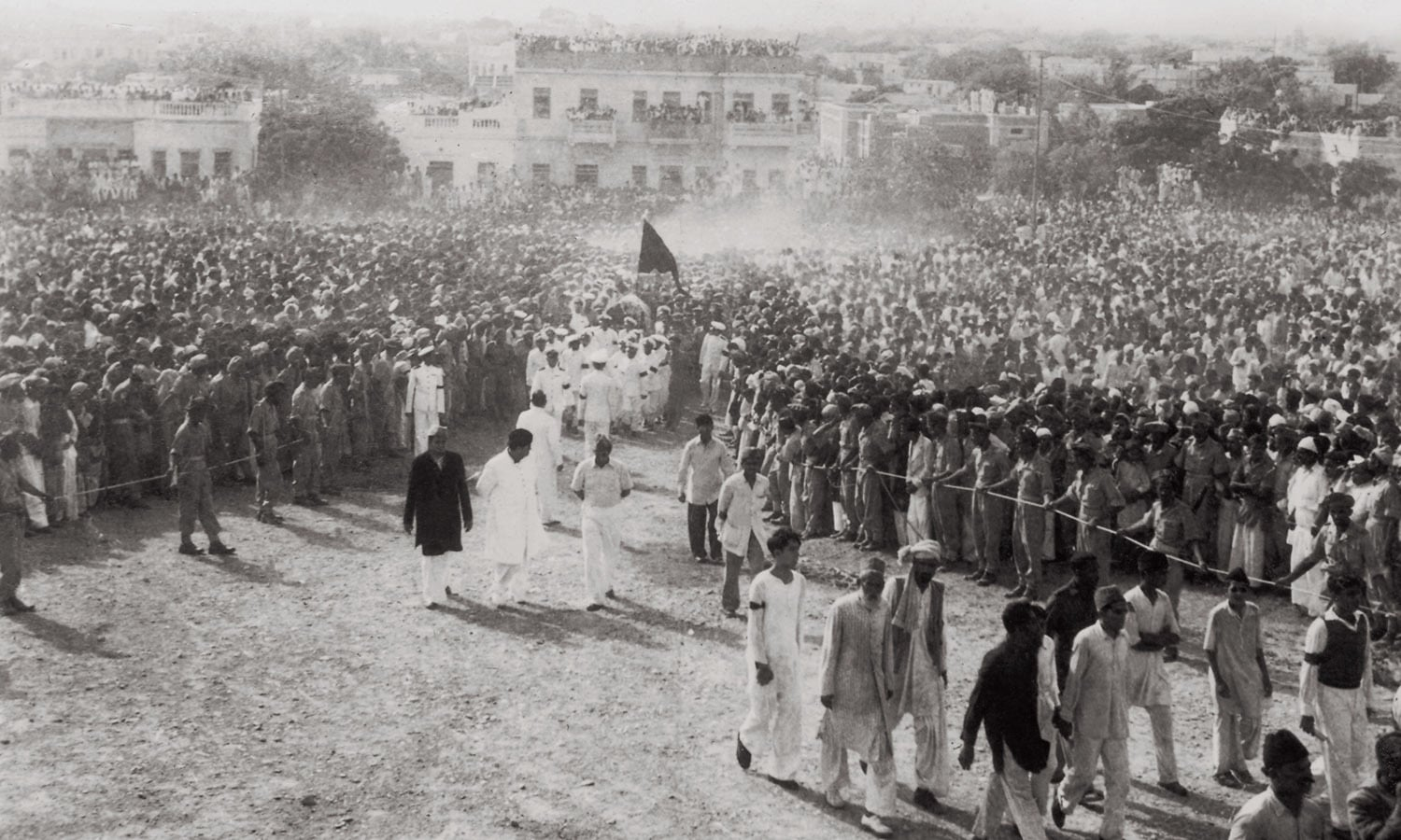 "Thousands of voices were raised in unison to declaim ""Quaid-i-Azam Zindabad"" as the gun carriage was carried from Governor General House to the gravesite on Bunder Road (now M.A. Jinnah Road). 