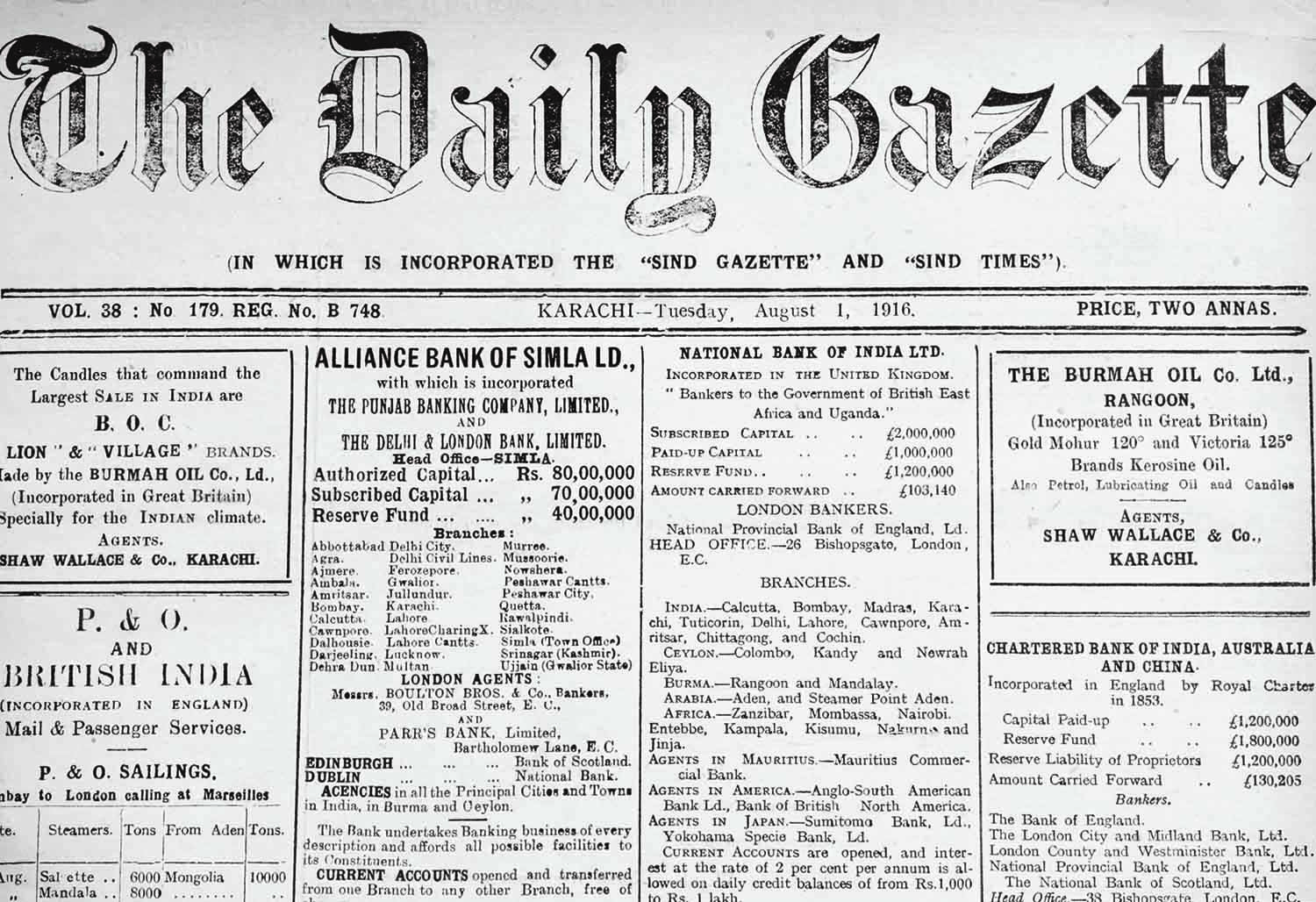 In 1915, the name of The Civil and Military Gazette was changed to The Daily Gazette.