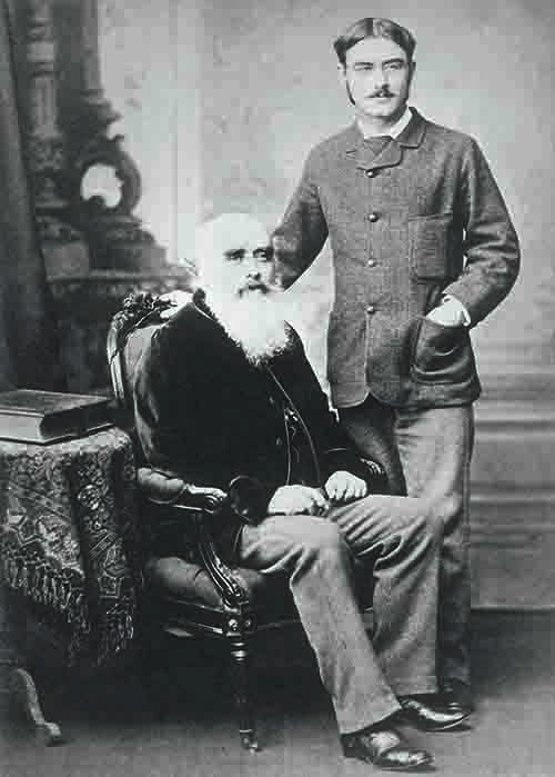 John Lockwood Kipling (left), curator of Lahore Museum, secured a job for his son, the well-known author Rudyard Kipling (right) in 1882, as assistant editor at the Civil and Military Gazette, a position he held for five years.
