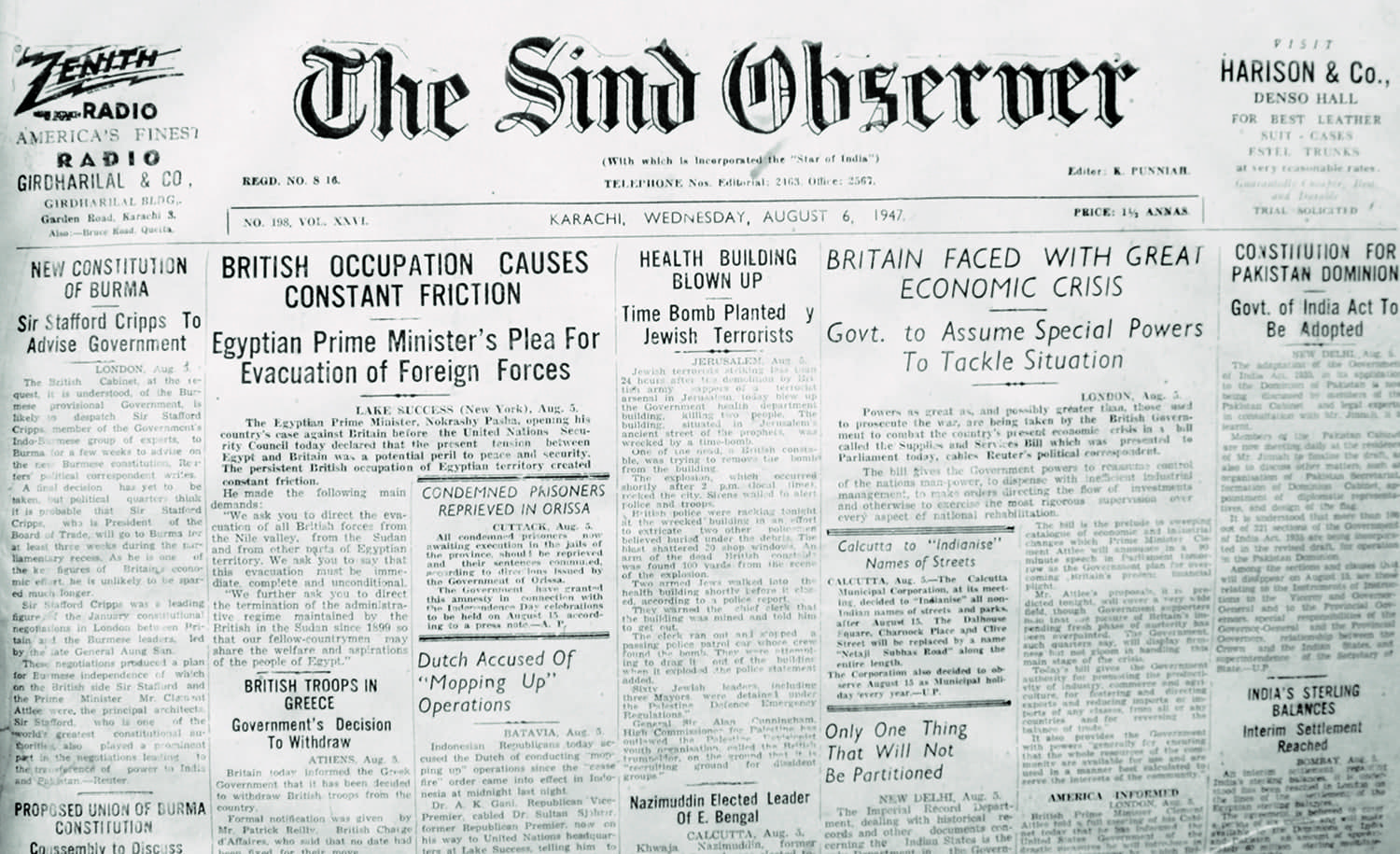 The Sind Observer was established in 1911 and ceased publication in 1953.